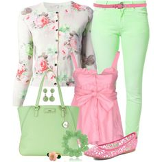 """Spring Chic"" by angela-windsor on Polyvore....in loveee!!! i would wear the pink shirt with or without the sweater. although i love the sweater too :)"