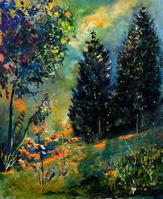Landscape Painting - In The Wood  565111 by Pol Ledent