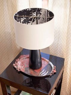 wallpaper on the inside of a lampshade to produce shadow effects on the walls. I like this....