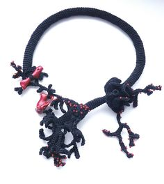 Freeform crochet necklace Black and Red by Jane Bo, via Flickr