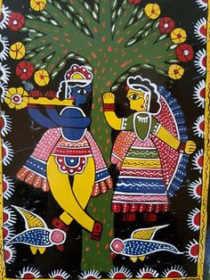 Your place to buy and sell all things handmade Madhubani Art, Madhubani Painting, Art Assignments, Indian Folk Art, Krishna Painting, Indian Crafts, Origami Art, Indian Paintings, Rangoli Designs