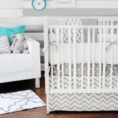 Chevron Print Bedding perfect for a boy or girl's room #chevron #chevron nursery