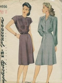 An original ca. 1943 Simplicity Pattern 4936.  Misses' and Women's Dress: A dart seam releases soft fulness in the waist front and the skirt is seamed in the center front and back. The smart front opening which extends to the hip is fastened with buttons. Style I features a high, round neck, finished with a narrow opening and cap sleeves. Style II has an open notched collar and long sleeves, gathered to a wrist band.