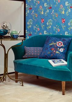 Pip Studio the Official website - Cherry Pip wallpaper blue Living Room Mirrors, Living Room Chairs, Living Rooms, Web Design, Home Design, Design Ideas, Floral Pattern Wallpaper, Brewster Wallpaper, Vert Turquoise
