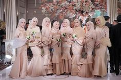 Ideas For Wedding Bridal Party Families Muslimah Wedding Dress, Muslim Wedding Dresses, Ceremony Dresses, Wedding Party Dresses, Bridesmaid Dresses, Wedding Ceremony, Wedding Bridesmaids, Hijab Dress Party, Hijab Style Dress