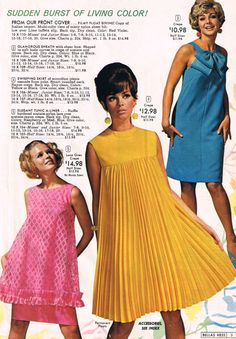 1968 National Bellas Hess shift dress baby doll pink yellow blue pleats bow color photo print ad models magazine 60s