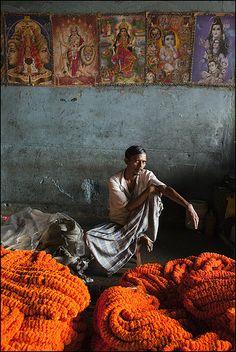 Flower seller in Calcutta