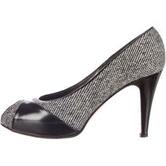 Pre-owned Gianvito Rossi Peep-Toe Pumps (225 CAD) ❤ liked on Polyvore featuring shoes, pumps, black, peeptoe pumps, canvas footwear, peep toe shoes, peeptoe shoes and black and white shoes