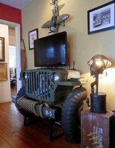 Aparador feito com Jeep Willys militar