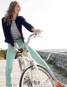 Cabi Spring '13 mint pants with Striped tee.