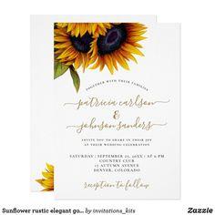 Sunflower rustic elegant gold script wedding invitation