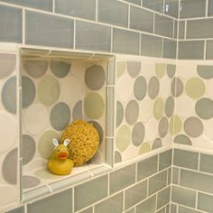 Kids Bathroom   Love That Little Circle Tile Border And The Mini Subway  Tiles.