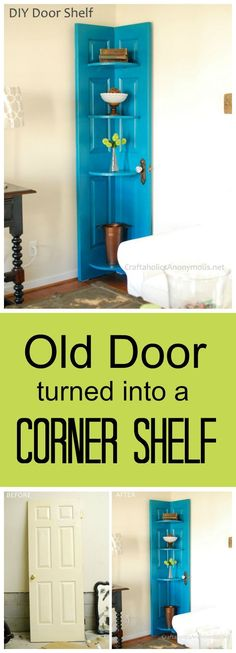 DIY Door Corner Shelf tutorial :: How to turn a door into a DIY corner shelf. Great way to use those hard to decorate corners + it makes cool home decor!