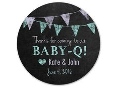 Custom Baby-Q Stickers - Chalkboard Labels - Personalized Stickers - Baby Shower Labels - Shower Stickers - Pennant Stickers - Banners