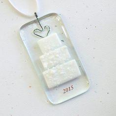 060 - Wedding Ornament, Glass Decoration, 2015, Glass Ornament, Christmas ornament, Christmas Decoration, Handmade ornament, Glass