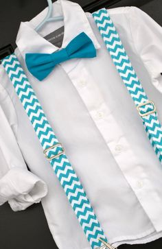 Turquoise and White Chevron Bowtie & Suspender set for baby . toddler, child, little boy - handmade in Texas by Dressed to Thrill, www.idresstothrill.com