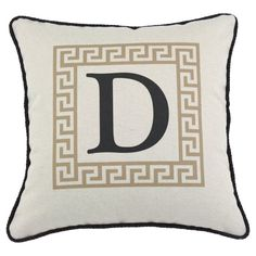 D'Kei Color Alphabet Graphics Pillow Tan - P17-LTRV-GK-81