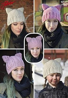 """""""KITTY"""" - Crocheted and knitted cap with the ear Baby Booties Knitting Pattern, Knitting Patterns, Crochet Patterns, Crochet Ideas, Knit Crochet, Crochet Hats, Wrist Warmers, Knit Mittens, Cat Pattern"""