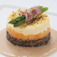 Haggis, neeps & tattie stack, a delicious recipe from the new Cook with M&S app. Scottish Dishes, Scottish Recipes, Scottish Desserts, Salsa Verde, Haggis Recipe, Burns Night Recipes, Burns Night Menu, Haggis Neeps And Tatties, Gourmet