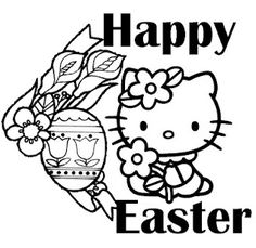 find this pin and more on clipartcoloring pages easterhellokitty - Kitty Easter Coloring Pages