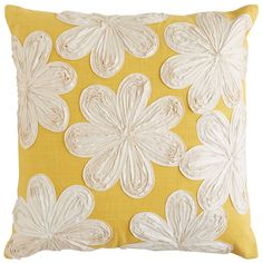 Pier 1's bright Ribbon Floral Pillow has a soft cotton cover, hidden zipper and appliqued flowers just waiting to be picked by you.