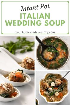 Instant pot Italian wedding soup is a warm and comforting soup for any occasion! It's quick, easy, and packed full of healthy ingredients. Serve it as a family dinner, quick and healthy lunch, or simple appetizer. Made with lots of vegetables, tender and juicy chicken meatballs, and clear chicken broth, this soup is as good for you as it is delicious! Store any extra in your freezer, and you'll be so happy to have a healing, healthy meal year round! Healthy Soup Recipes, Healthy Snacks, Ground Chicken Recipes, Wedding Soup, Using A Pressure Cooker, Chicken Meatballs, Asian Cooking, Freezer, Appetizer