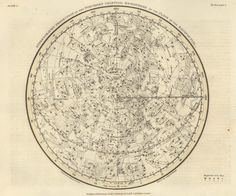Plate 1 Northern Hemisphere, Alexander Jamieson's Celestial Atlas, February 1822