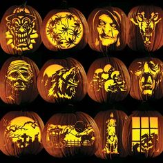 Carve these great Halloween patterns with easy pumpkin tattoo patterns. Super fast pattern transfer patterns let you get the the fun part FAST. These make carving far easier carve, too. Classic Party Pack pumpkin carving templates. http://www.vegetablefruitcarving.com/pumpkin-carving-tattoos/