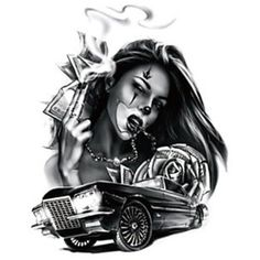 "Check out this project: ""CG art, Illustration""… Gangster Tattoos, Chicano Tattoos, Chicano Style Tattoo, Chicano Drawings, Body Art Tattoos, New Tattoos, Sleeve Tattoos, Temporary Tattoos, Lowrider Tattoo"
