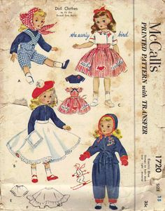 Doll Clothes Vintage Sewing Pattern 1950s