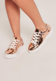 Missguided - Rose Gold Metallic Lace Up Sneakers