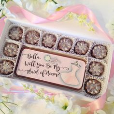 Will You Be My Maid of Honor Chocolates. Maid of honor proposal. A personal and delicious way to ask your best friend to be your Maid of Honor. Edible message on decadent chocolate is such a unique gift idea. Choose from 10 different colors for your dress and bouquet. Personalize it with your Maid of Honors name to make it a truly special gift. It even has sparkling sugar to add a touch of bling.