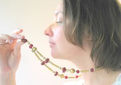 Handmade lampwork glass beads necklaces with brass by murmurbeads
