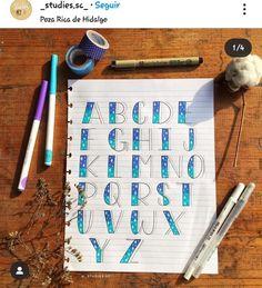 Bullet Journal Cover Ideas, Bullet Journal Banner, Bullet Journal Writing, Bullet Journal Inspiration, Brush Lettering Quotes, Hand Lettering Styles, Hand Lettering Alphabet, Lettering Tutorial, Abc Font