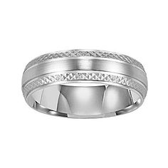 White Gold Wedding Band Mens 6mm 14K Engraved