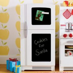 """""""What's For Dinner Kitchen Appliance"""" from Land of Nod. Found this play fridge with magnetic chalkboard 80% off at LandofNod.com"""