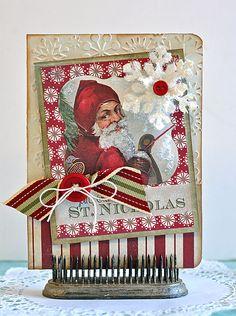 Santa card, snowflake, ribbon, button, fiber