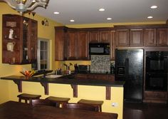 Yellow kitchen- Yes! with the dark wood