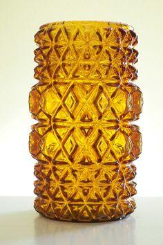 Vintage old amber glass textured vase by Timebanditvintage on Etsy, $25.00