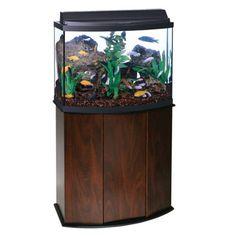 $234.99 - 36 gallon, bow front, glass aquarium with stand, fluorescent hood, lamp, & manual - Aqueon® 36 Gallon Bow Front Aquarium Ensemble | Aquariums | PetSmart