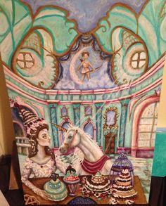 A Lady and a Unicorn painting by Tara Nefertara by ChurchofVanity
