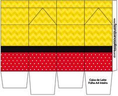 Caixa de Leite  Poá Vermelho e Listras Amarelo: