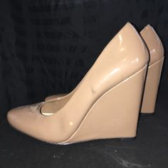 Jessica Simpson Taupe  Wedge JS by Jessica. Never worn. Some scuffs as indicated in pics. Great shoe. Any questions. Please ask. Jessica Simpson Shoes Wedges