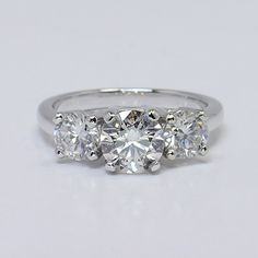 """Give her this gorgeous """"Three Diamond Ring with Straight Prong Setting"""" because she certainly deserves the best! ❤"""