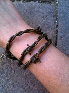 Leather Fake barbed wire Bronze