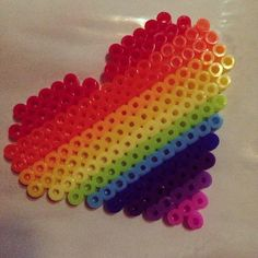 Rainbow heart perler beads by rachel_liu