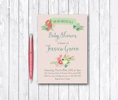 Pink Baby Shower Invitation Printable, Birthday Invitation, Digital File - Floral Baby Shower Invite - pinned by pin4etsy.com