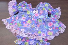 """Purple Sparkly Butterfly Dress/bloomers, fits 8"""" L'il Cutie Berenguer babies #KindredHeartsDesigns"""