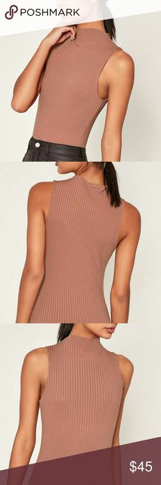 Missguided Turtleneck Bodysuit. Dark Pink, Ribbed Tops