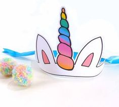 Free printable unicorn party hat, great for a child's Unicorn party or just for dress up. Print and cut unicorn party hat – Fits on one sheet of Punch holes and add elastic or secur… Unicorn Party Hats, Unicorn Themed Birthday Party, Rainbow Birthday, Dinosaur Party, Elmo Party, Elmo Birthday, Mickey Party, Dinosaur Birthday, Unicorn Mask